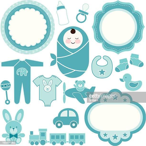 ilustrações, clipart, desenhos animados e ícones de conjunto de design de bebê menino - baby blanket
