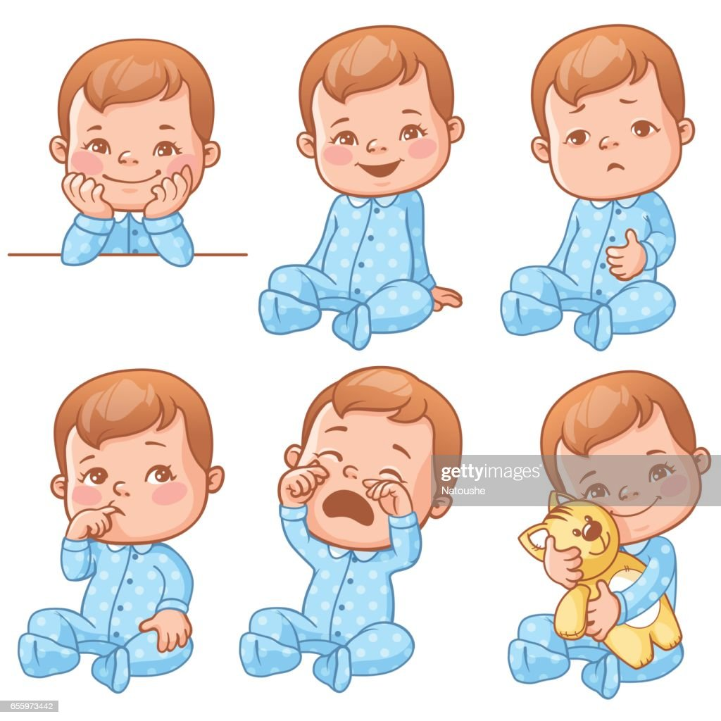 Baby boy emotions set.