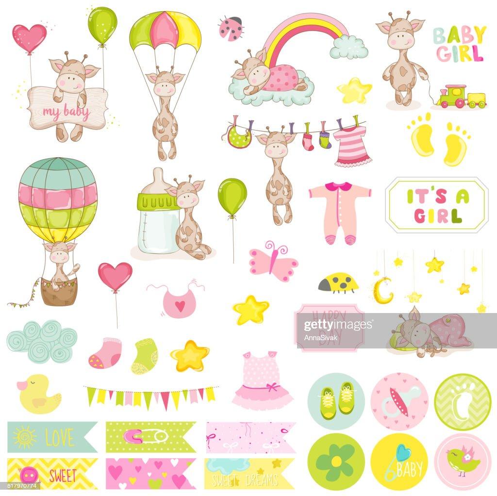 Baby Boy Giraffe Scrapbook Set. Decorative Elements. Baby Tags