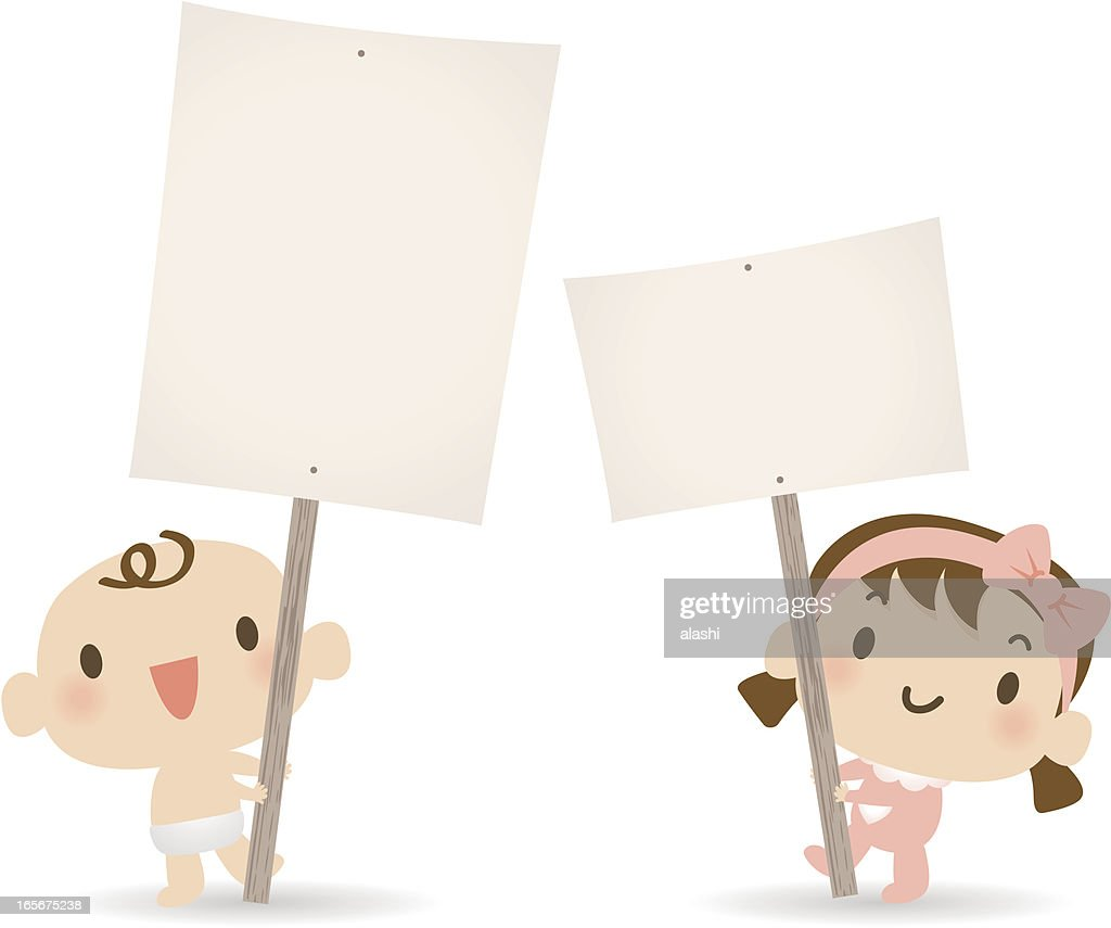 baby boy girl holding a blank sign for your message vector art