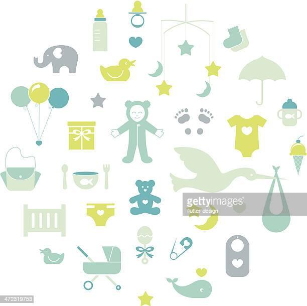 ilustrações de stock, clip art, desenhos animados e ícones de ícones de bebé - chadebebe