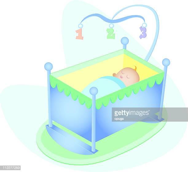 ilustraciones, imágenes clip art, dibujos animados e iconos de stock de niño bebé en una cuna - baby blanket