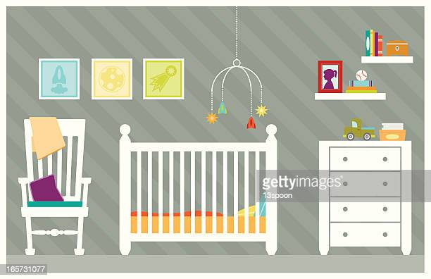 baby boy room - blanket stock illustrations