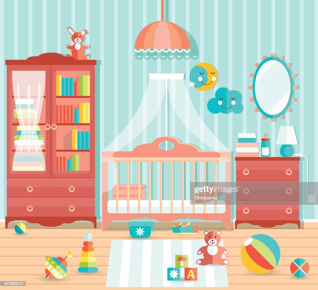 Baby boy room with furniture. Stylish cute blue colors. Flat sty