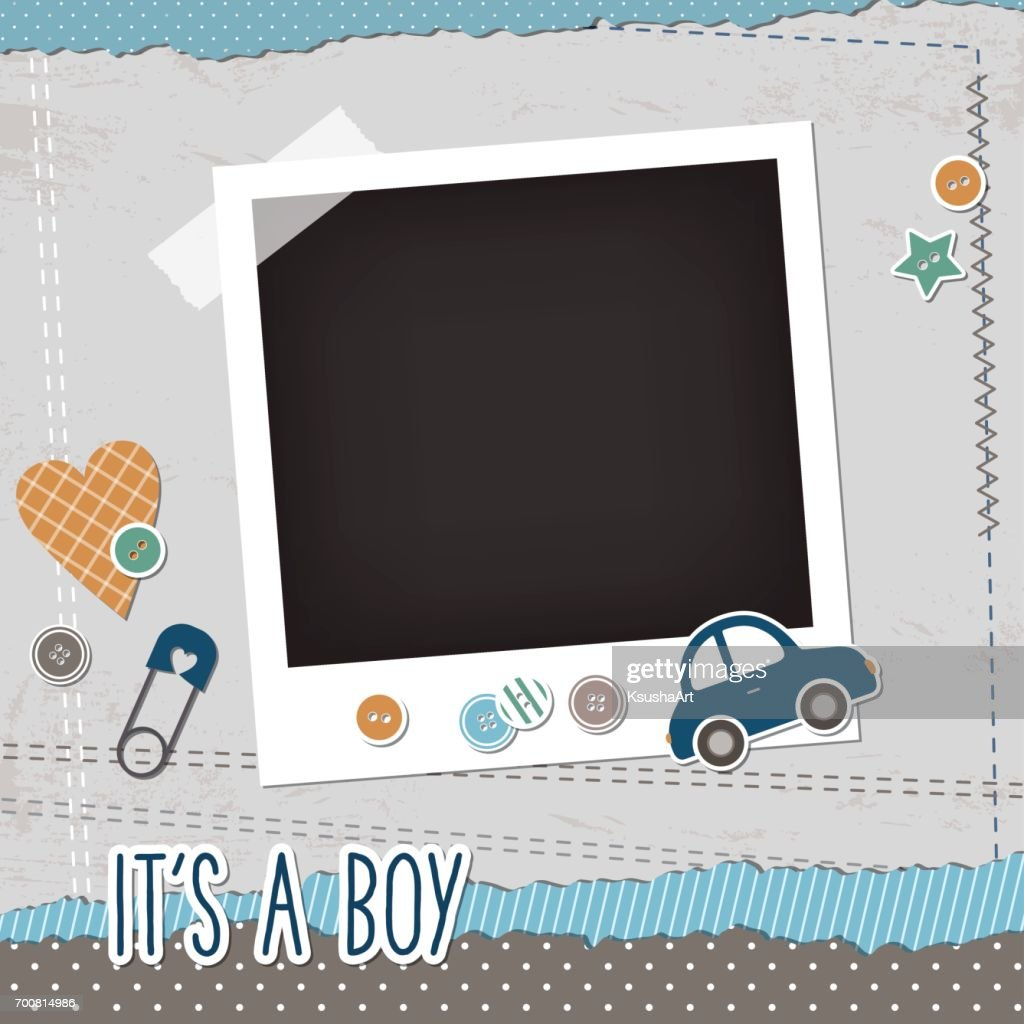 Baby boy scrapbook elements