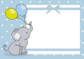 baby boy shower card. cute elephant with balloon.