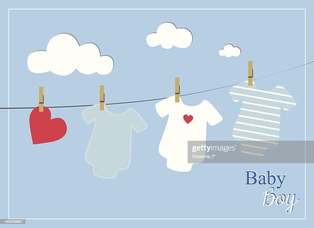 baby boy shower invitation card, baby bodysuits on blue background : Vector Art