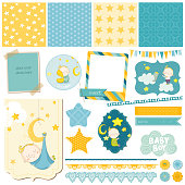 Baby Boy Sleeping Theme for Party, Scrapbook or Design Elements