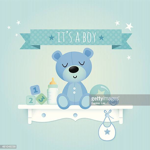 baby boy teddy - cute stock illustrations