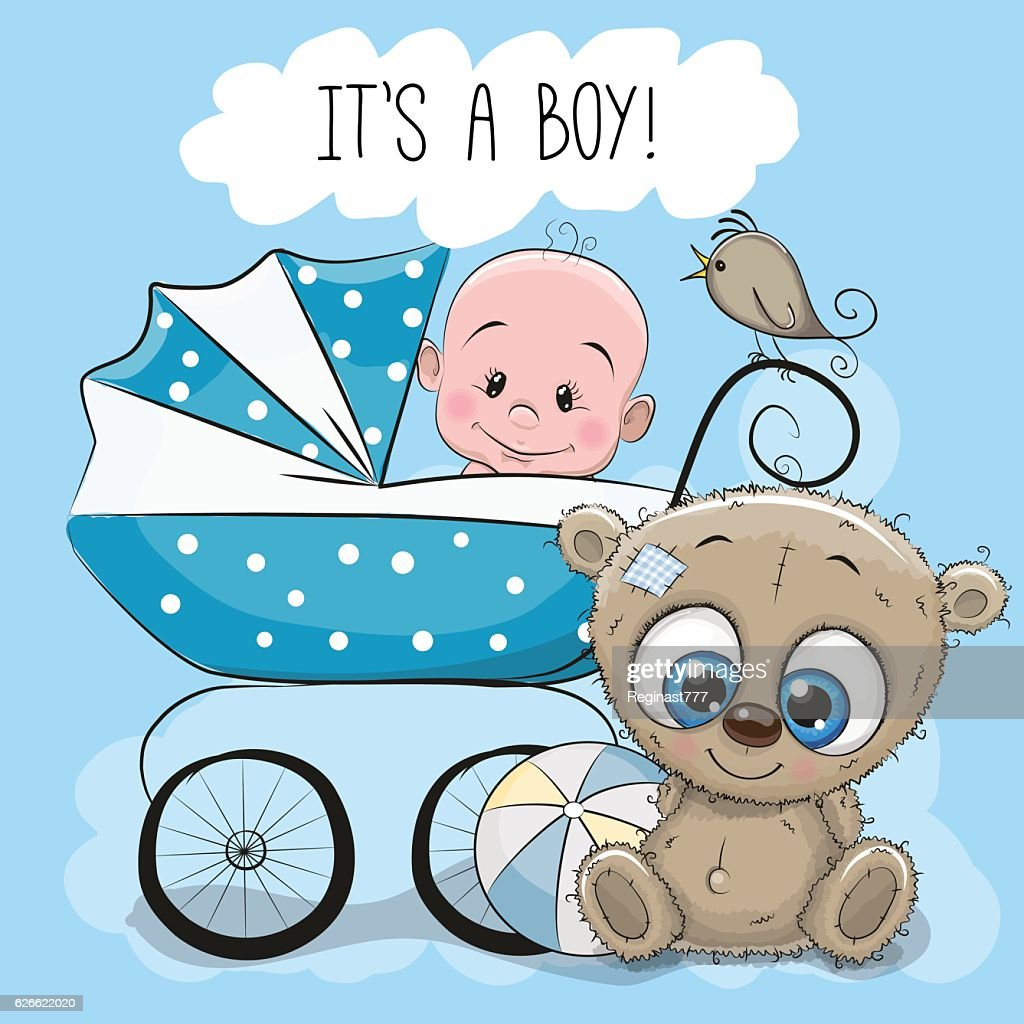Baby boy with baby carriage and Teddy Bear