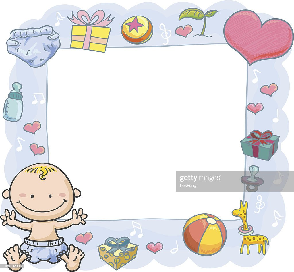 B b gar on avec cadre orante clipart vectoriel getty images - Cadre avec prenom bebe ...