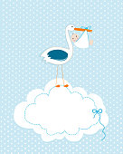 Baby boy with stork. Baby arrival greeting card. Baby shower invitation newborn baby