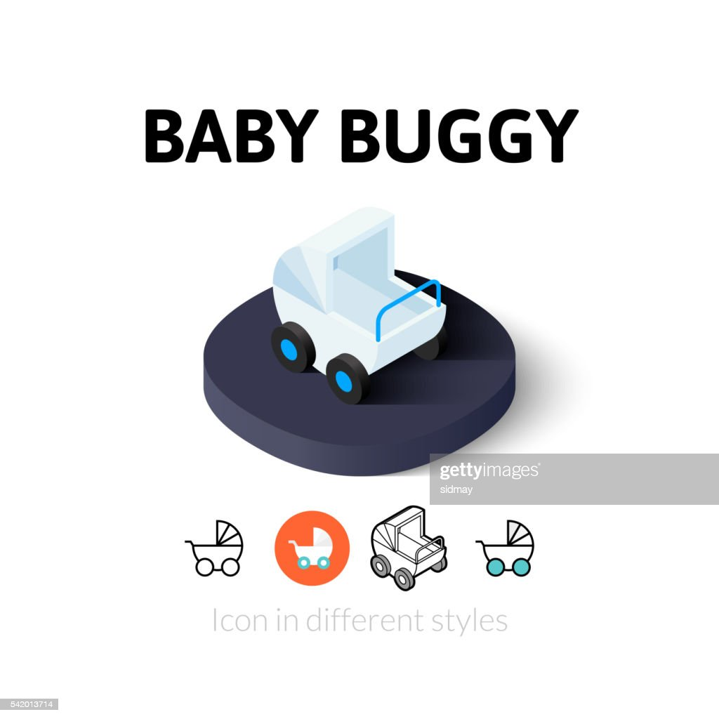 Baby buggy icon in different style