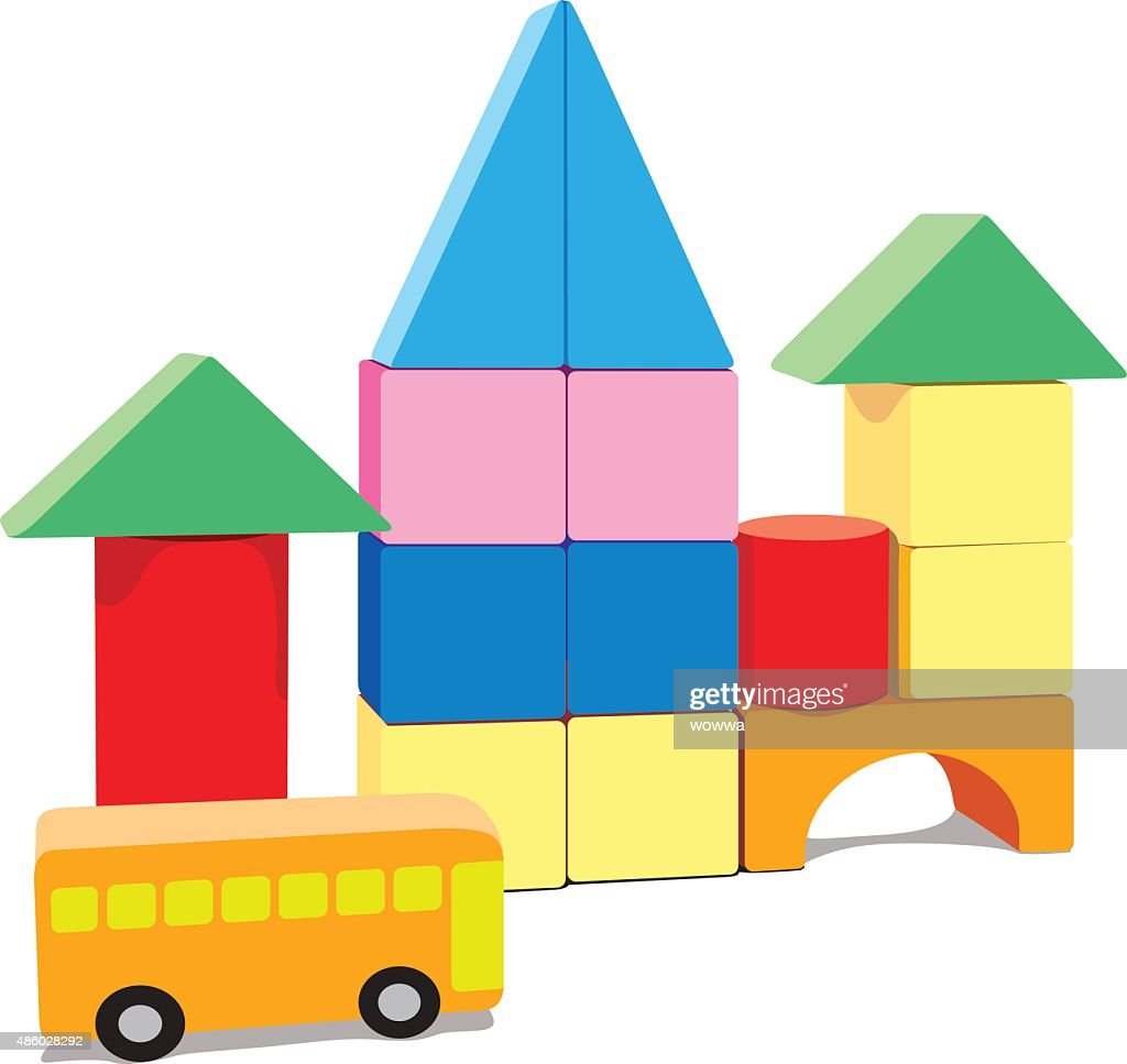 Baby building blocks, with bus and blank