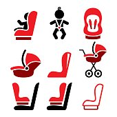 Baby car seat vector icons, toddle car seat - safe child traveling icons