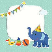 Baby card with elephant and frame