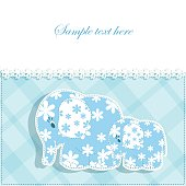 Baby card with elephants
