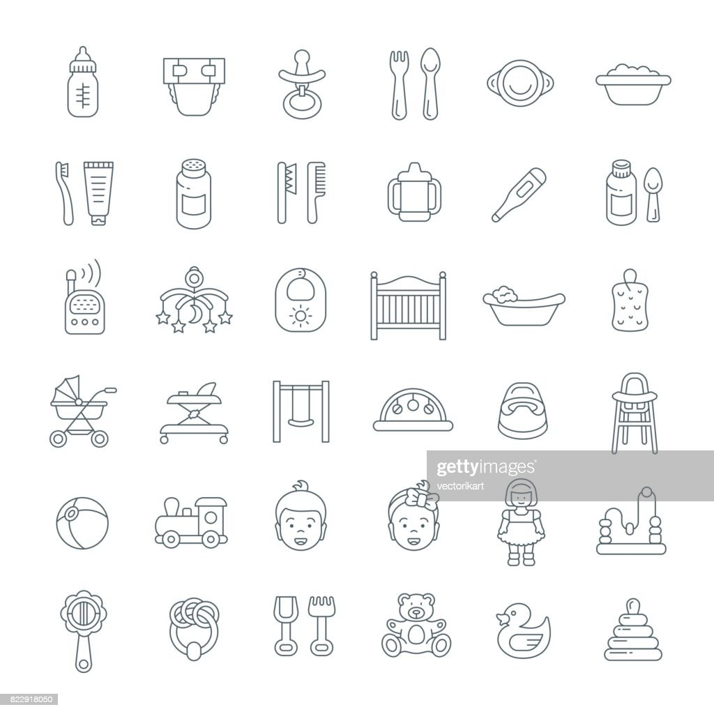 Baby care flat line vector icons
