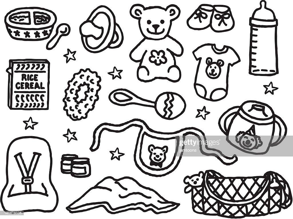 Itens de cuidados para bebês : Ilustração