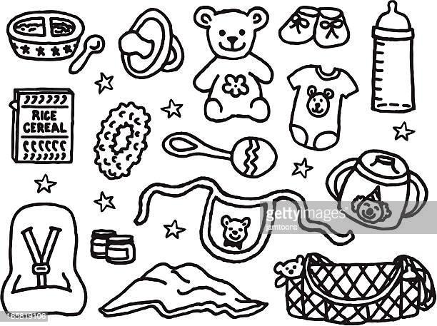 ilustraciones, imágenes clip art, dibujos animados e iconos de stock de artículos de cuidado de niños - baby blanket