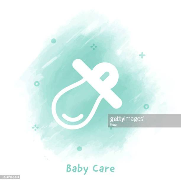 Baby Care Line Icon Watercolor Background
