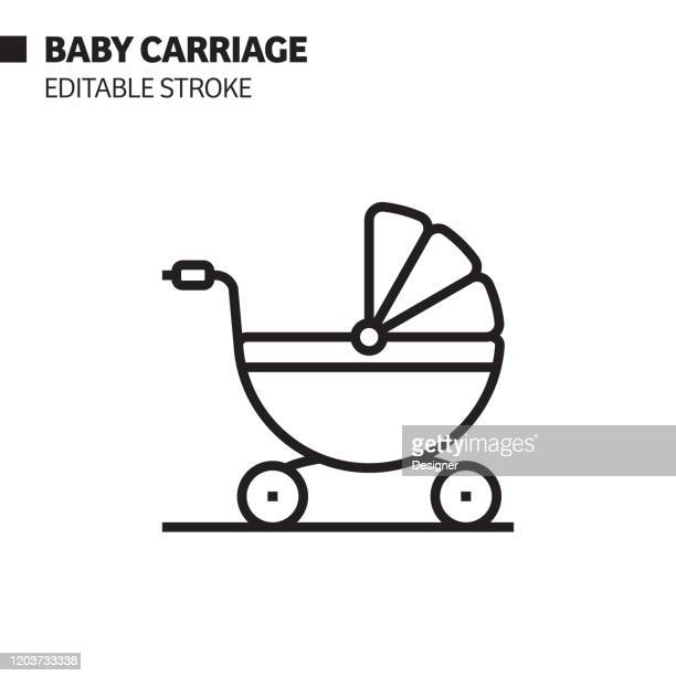 baby carriage line icon, outline vector symbol illustration. pixel perfect, editable stroke. - baby carriage stock illustrations