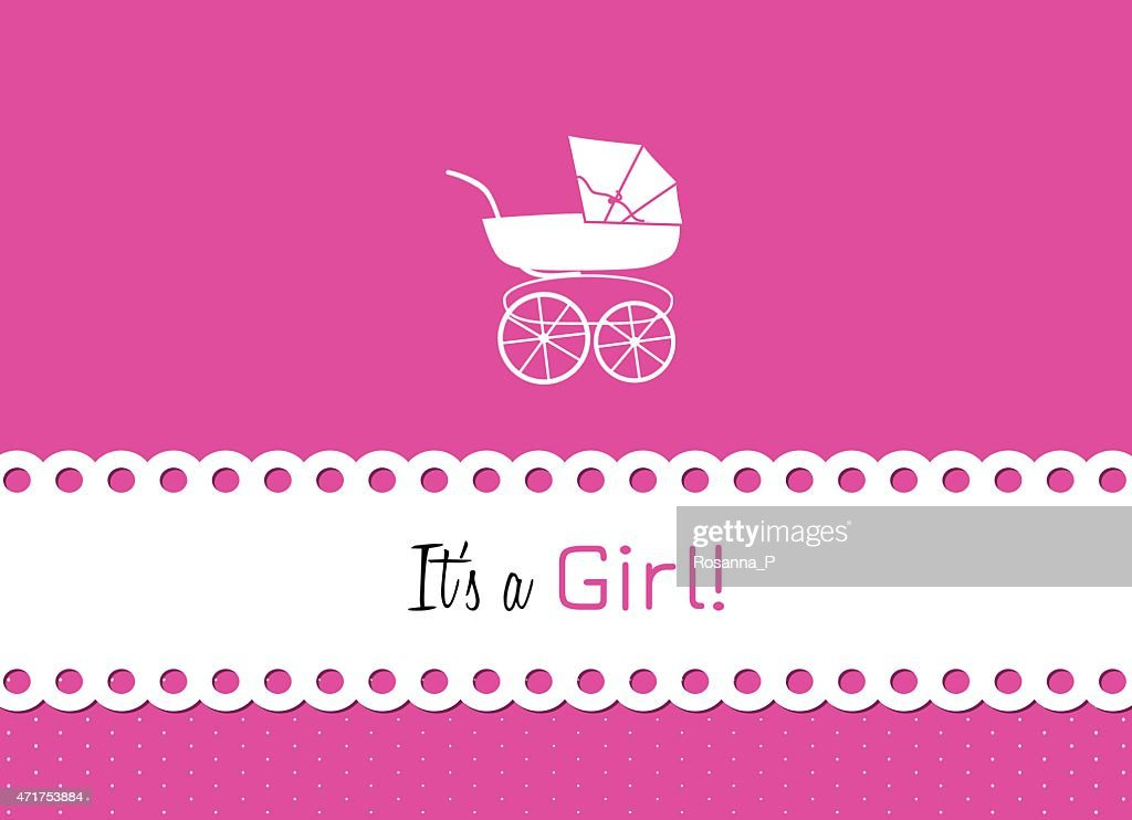 baby carriage to announce the birth of a little woman