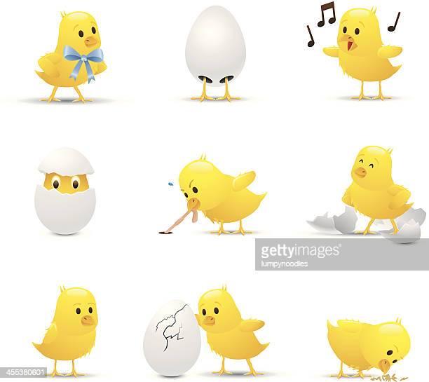 ilustraciones, imágenes clip art, dibujos animados e iconos de stock de bebé pollos - huevo etapa de animal