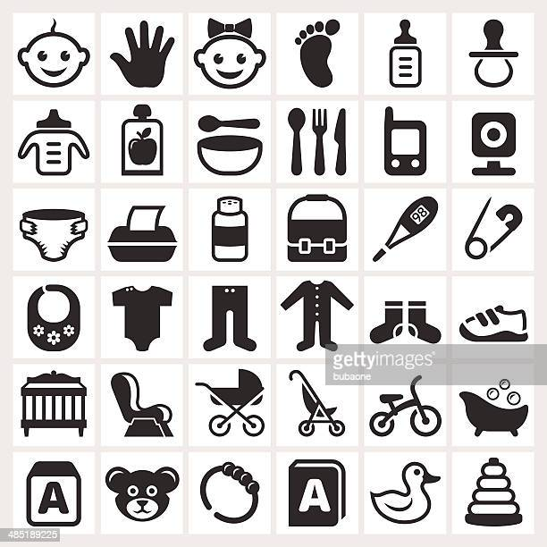 Baby Childcare and Toys royalty free vector vector icon set
