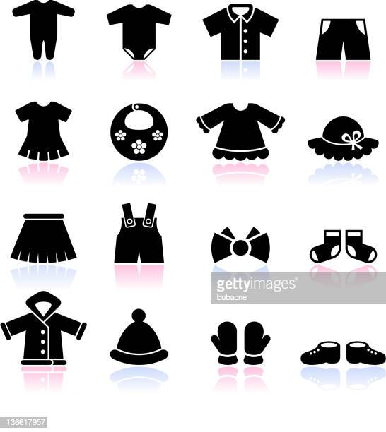 baby clothes black and white royalty free vector icon set