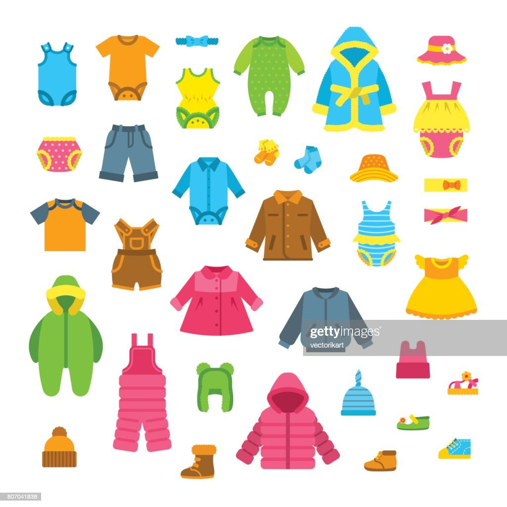 Baby clothes flat vector illustrations set