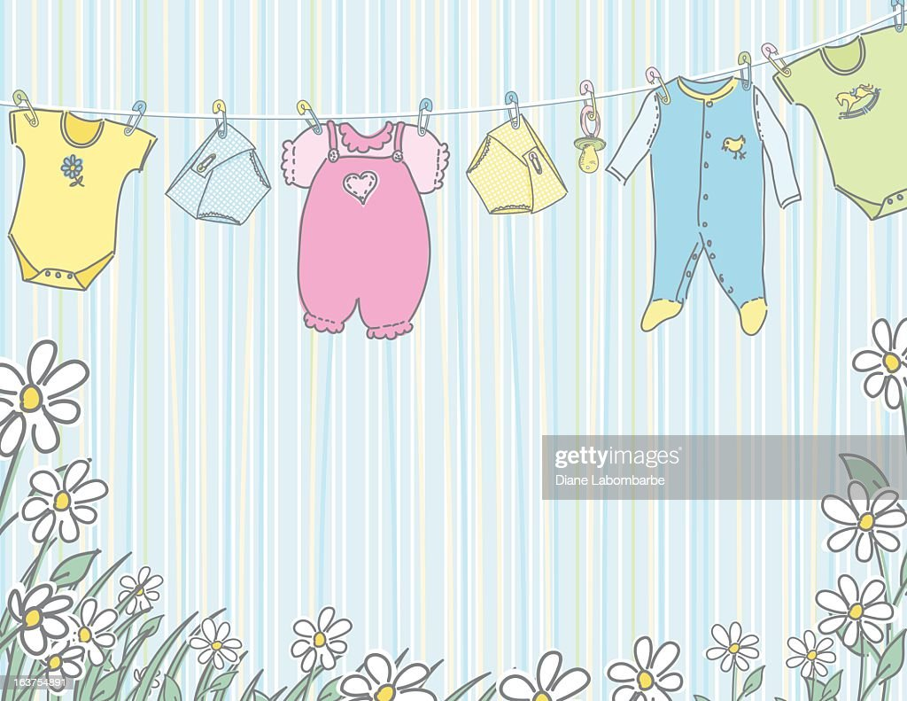 baby clothes hanging on clothesline vector art getty images