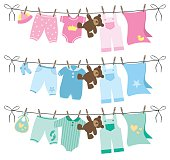 Baby clothes on clothesline vector illustration