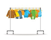 Baby clothes on hanger rack vector flat illustration