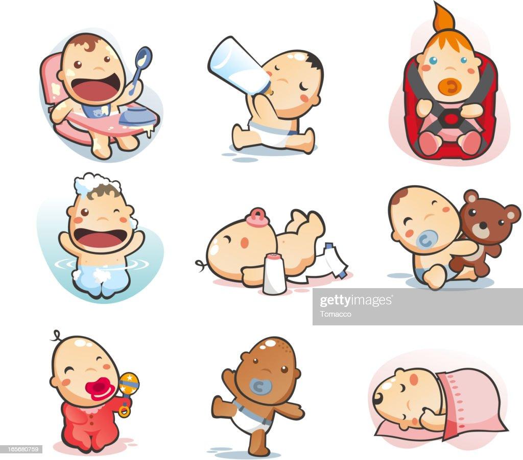 baby collection eating drinking mil sleeping bathing playing walking
