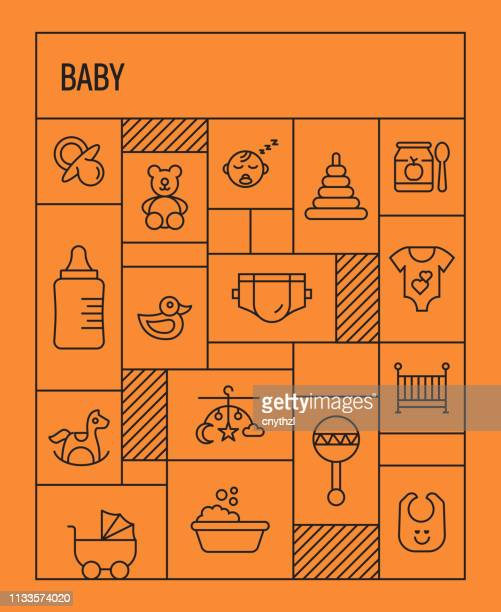 baby concept. geometric retro style banner and poster concept with baby line icons - child care stock illustrations