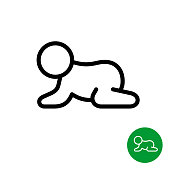 Baby crawling icon. Line style kid silhouette.