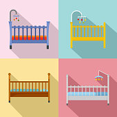 Baby crib cradle bed icons set, flat style
