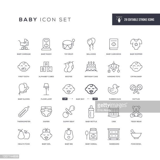 baby editable stroke line icons - baby carriage stock illustrations