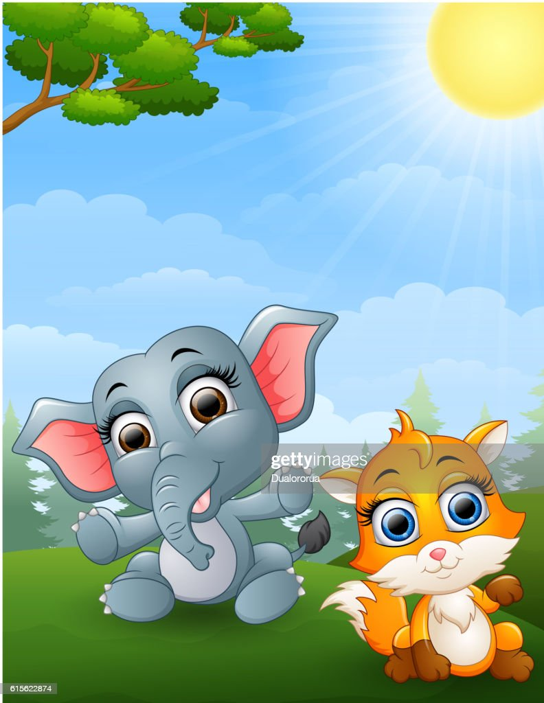 Baby elephant and baby fox cartoon in the jungle