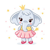 Baby elephant in a beautiful dress. Vector illustration with cute elephant princess.