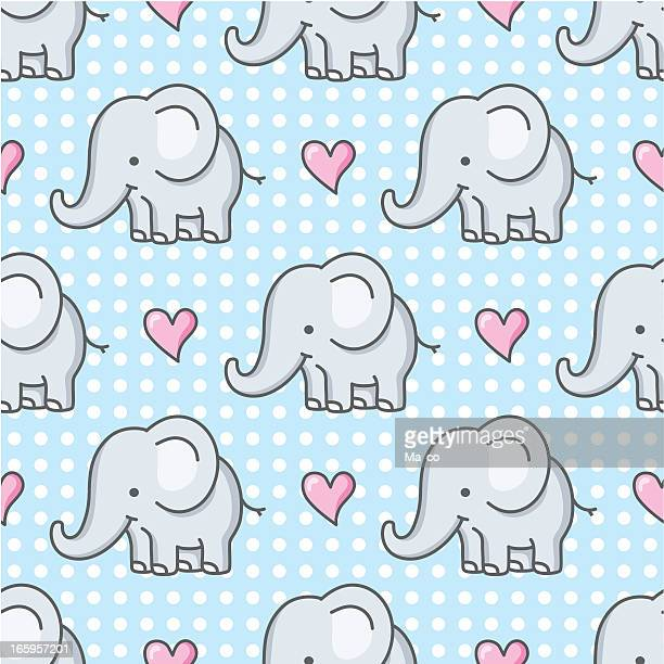 baby elephant seamless pattern / cartoon - cute stock illustrations