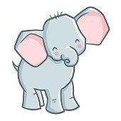 baby elephant smiling happily