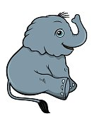 Baby Elephant Vector Cartoon