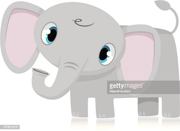 baby elephant - cartoon characters with big noses stock illustrations, clip art, cartoons, & icons