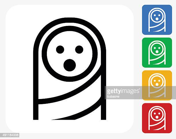 baby face icon flat graphic design - baby blanket stock illustrations, clip art, cartoons, & icons