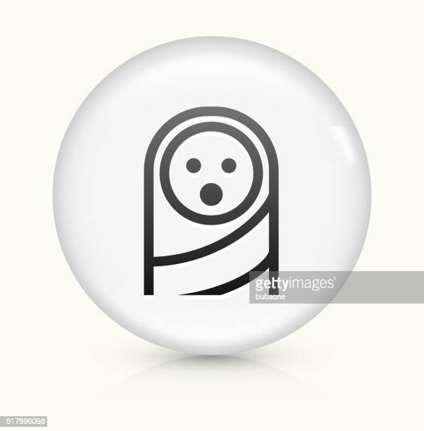 baby face icon on white round vector button - baby blanket stock illustrations, clip art, cartoons, & icons