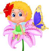 Baby fairy elf cartoon sitting on flower