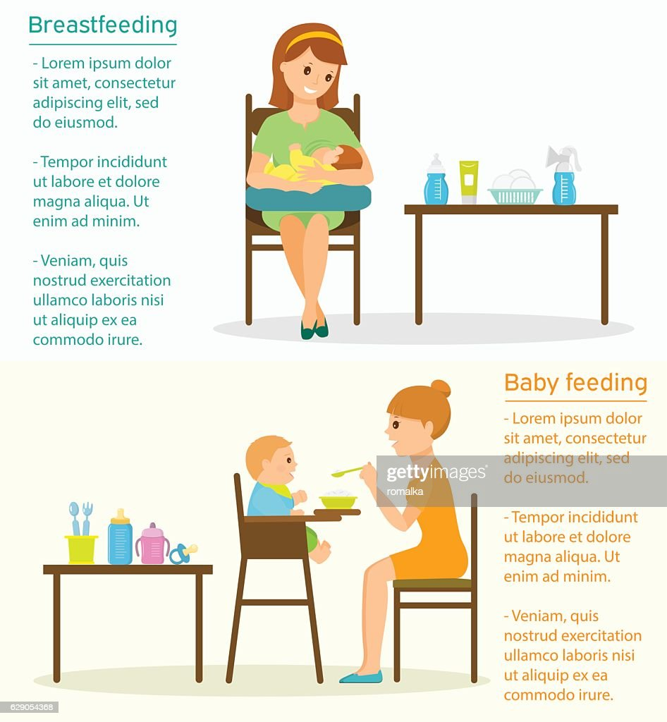 Baby feeding template with place for text.
