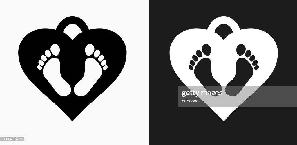 Baby Feet Tag Icon on Black and White Vector Backgrounds